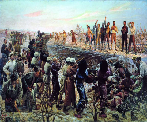 Isaak Brodsky's The Execution of the Twenty Six Baku Commissars (1925) depicting the Soviet view of the execution