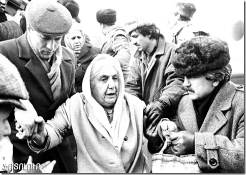 An elderly Armenian woman is one of many evacuees that escaped Baku after the massacres of Armenians by Azeris began in mid-January of 1990.