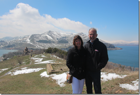 SOAR-Wisconsin vice president Harry Aghjian and his wife Casey at Lake Sevan, Armenia