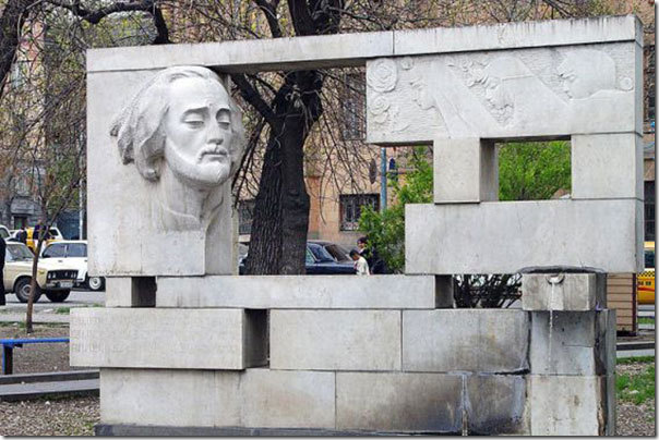 The monument to Sayat Nova in central Yerevan.
