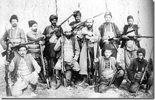 Nigol Duman, seated, with his band of fedayees.