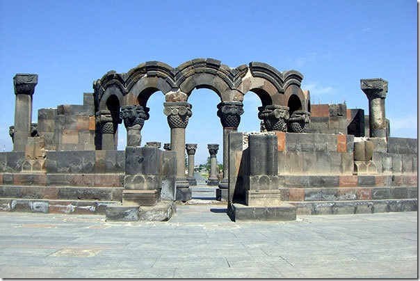 The remains of Zvartnots Cathedral near the airport named after it in Armenia.