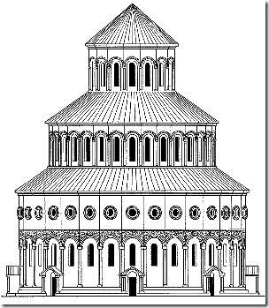 An image of what Zvartnots Cathedral would have looked like befor its destruction drawn by Toramanian.