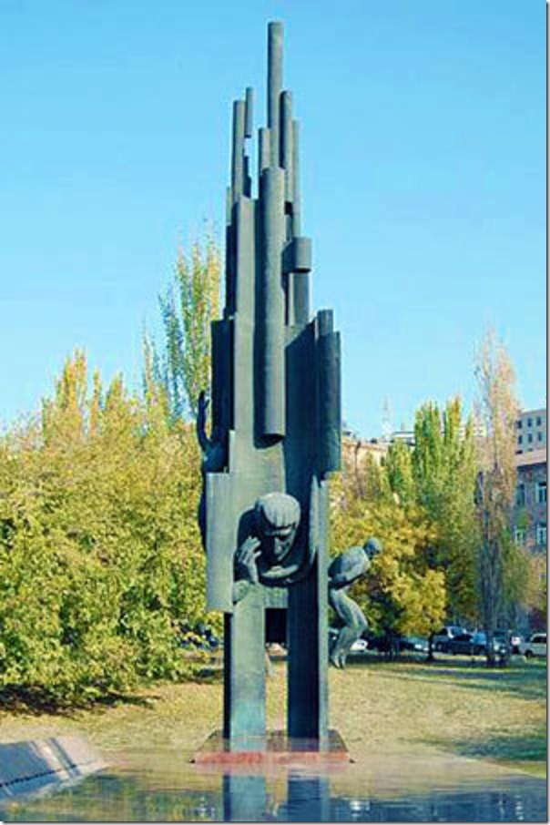 A memorial sculpture to Charents in central Yerevan.